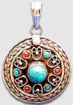 Серебряная подвеска с самоцветами---craftsinindia.com