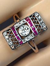 Геометрическое кольцо в стиле ар деко--Одесса-1910---romanovrussia.com
