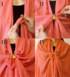 Как завязать шарф бантом с брошью-кольцом---bestaccessories.ru