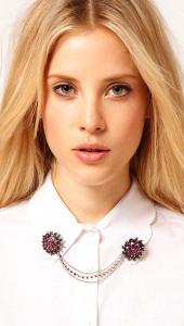 Двойная брошь на воротник блузы - fashioncollars.com