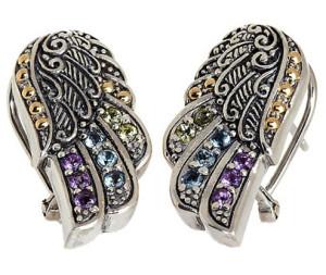 Серьги-крылья из серебра с полудрагоценными камнями, Robert Manse Designs