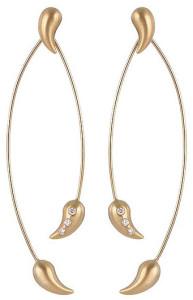 Золотые серьги-листья с бриллиантами, Kelim