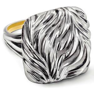 Серебряное кольцо с мотивом перьев, Repoussé Jewelry by Galmer