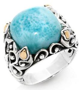 Серебряный перстень с ларимаром из Доминиканской республики, Robert Manse Designs