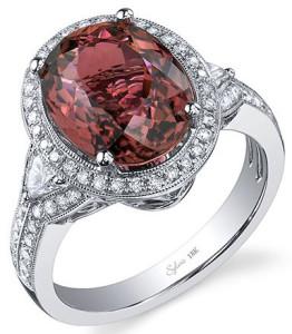 Перстень из белого золота с турмалином и бриллиантами, Sylvie Collection