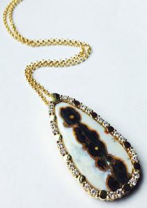 Кулон с яшмой и бриллиантами, Laura Pierson