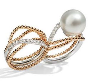 Кольцо из красного и белого золота с морской жемчужиной, Utopia
