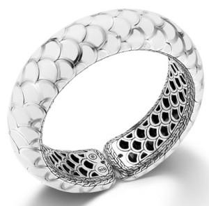 Браслет-манжета из серебра с белой эмалью, John Hardy