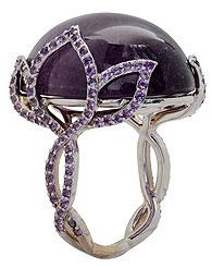 Кольцо с кабошоном-турмалином и аметистовым паве, V. Tse