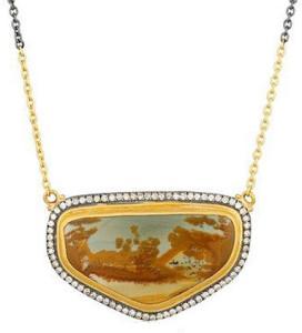 Кулон с яшмой и бриллиантами в стиле дикого запада, Lika Behar