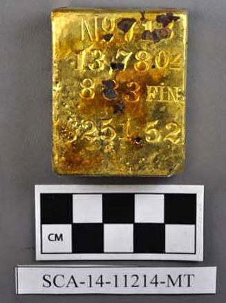 Слиток золота, поднятый с корабля SS Central America