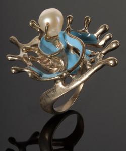 Кольцо-Кольцо-БРЫЗГИ-ВОДЫ,-бижутерный-сплав-латуни,-эмаль,-жемчуг