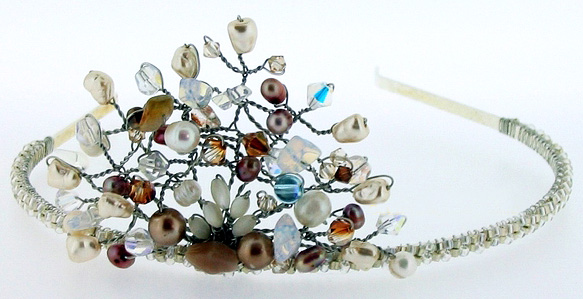 тиара-обруч с бисером - фото marticjewellery.com
