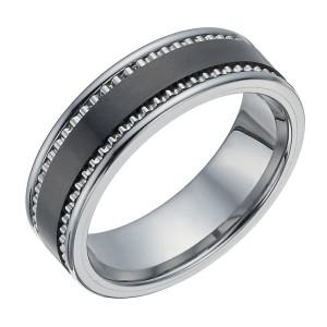 Вольфрамовое кольцо с керамической вставкой.
