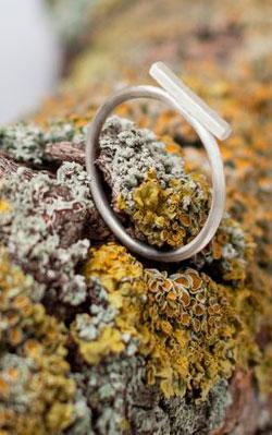 Серебряное кольцо-бар ninalu