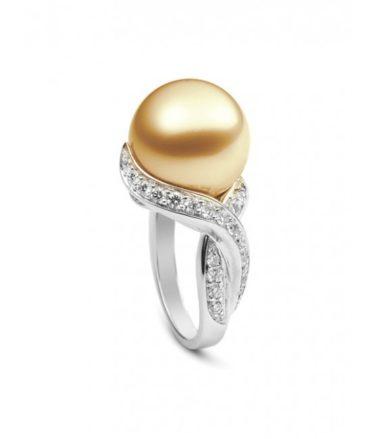 Золотое кольцо Mikimoto с жемчужиной из Жёлтого моря